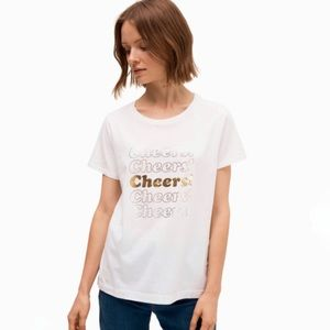 Kate Spade White Tee With Gold  Cheers